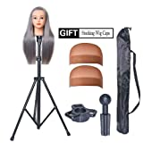 HOOMBOOM Mannequin Head Stand, Wig Stand Tripod - Mannequin Block Head Holder Metal Adjustable Tripod Stand Holder for Hair Salon Cosmetology Hairdressing Training Head with Carry Bag (Color: Mannequin head tripod stand)