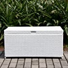 Wicker Lane ORI003-B Wicker Storage Deck Box, White