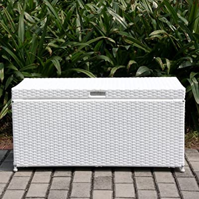 Outdoor White Wicker Patio Furniture Storage Deck Box for Sale