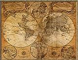 大航海時代 ! 世界地図 ポスター 中世 アンティーク 風 インテリア レトロ 地図 室内装飾 看板 調度品 海賊 パイレーツ 宝島 1746年 欧州のレトロな切手付HB349