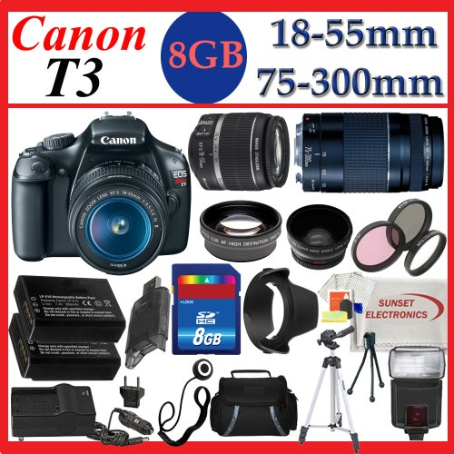 Canon EOS Rebel T3 (1100d) SLR Digital Camera w/ Canon 18-55mm IS Lens & Canon Zoom Telephoto 75-300mm III Lens, 3 Extra Lens, 8GB SDHC Memory Card, Soft Carrying Case, Tripod & Much More !!