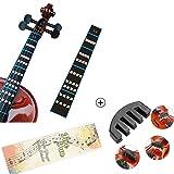 Violin Mute and Violin Note Sticker for 4/4 Violin Practice Cello Mute Black (With Violin Mute 4/4)
