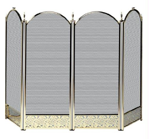 Lowest Price! UniFlame 4-Fold Polished Brass Screen with Decorative Filigree