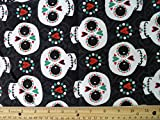"Halloween Snuggle Flannel ""Happy Sugar Skulls"" Fabric, 41"" Wide, (3) Yards in Continuous Piece"