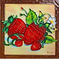 Continental Art Center BD-2183 8 by 8-Inch Strawberries with a Framed Design Ceramic Art Tile