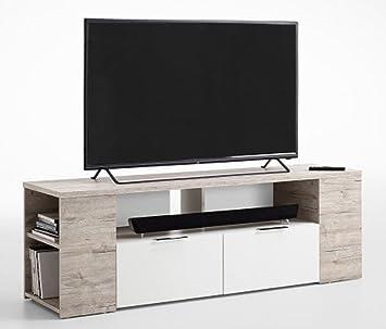 Meuble TV, en bois mélaminé coloris chêne sable/blanc - Dim : L 150 x H 50 x P 40 cm - PEGANE -