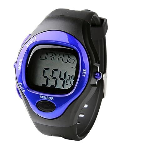 SODIAL(R)Blau Pulsmesser Pulsuhr Uhr Digit. Herzfrequenzmesser ...