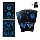 Vitality Life Waterproof Playing Cards Plastic PVC 55pcs/deck, Wolf Poker Cool Playing Cards, Black Playing Cards Trick Magic Cards Games for Magic Party Cardistry or More