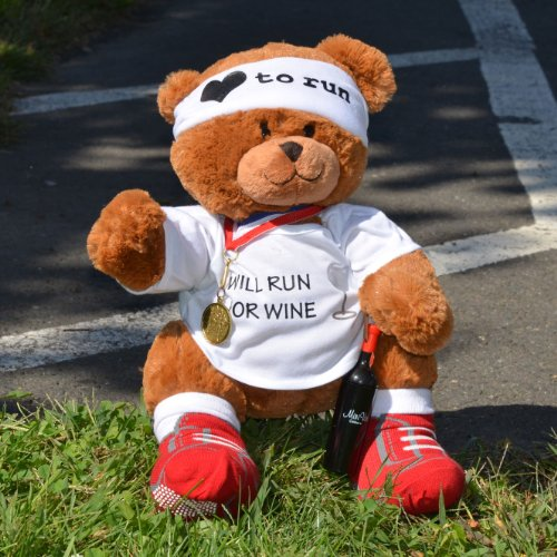 Will Run for Wine Race Teddy Bear - Runners Stuffed