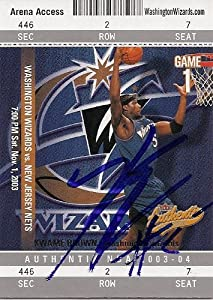 Kwame Brown Autographed Hand Signed Basketball Card (Washington Wizards) 2003 Fleer... by Hall of Fame Memorabilia