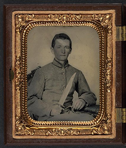 Unidentified soldier in Confederate artillery uniform with large Bowie knife