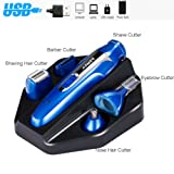 Nose Hair Trimmer, 5 in 1 Mens Electric Razor USB Rechargeable Grooming Electric Shaver / Eyebrow / Sideburns / Beard / Nose Ear Hair Trimmer for Men Women Waterproof Beauty Kit Rotary Shaver -BLUE (Color: Blue)