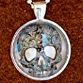 ODDITY Steampunk Victorian Freak Human SKULL anatomical pendant goth pendant Necklace Sugar Skull Day of the Dead Zombie