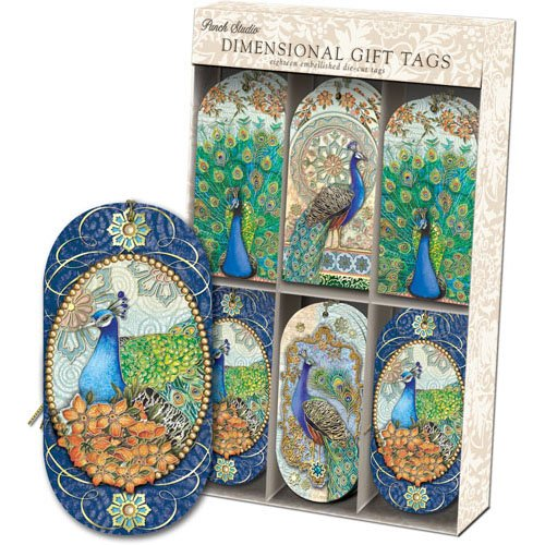 Royal Peacock Embellished Dimensional Gift Tags