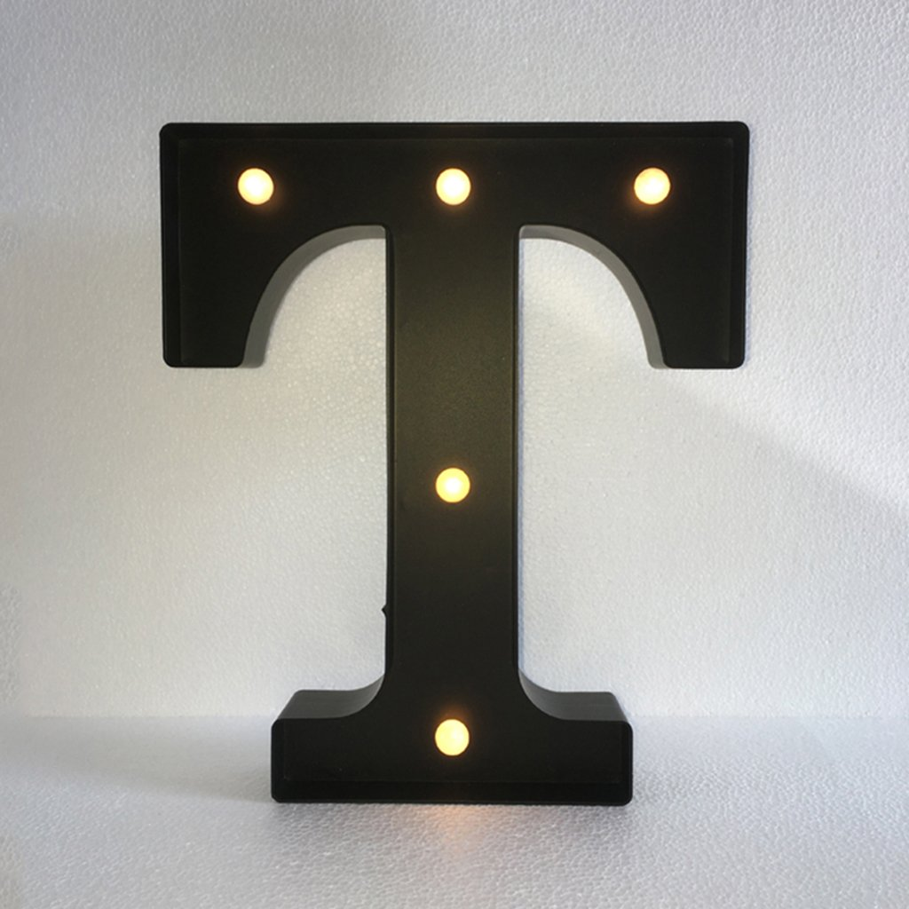 Black 12inch LED Vintage Letter Light Circus Style Alphabet Light Up Signs A - Z - Black T, 30cm 1