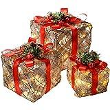 WeRChristmas weihnachtliche Deko-Geschenkboxen mit warmweißer LED-Beleuchtung, 3 Stück: 25/20/15cm, Sisal und Rattan, mit roter Schleife, mehrfarbig
