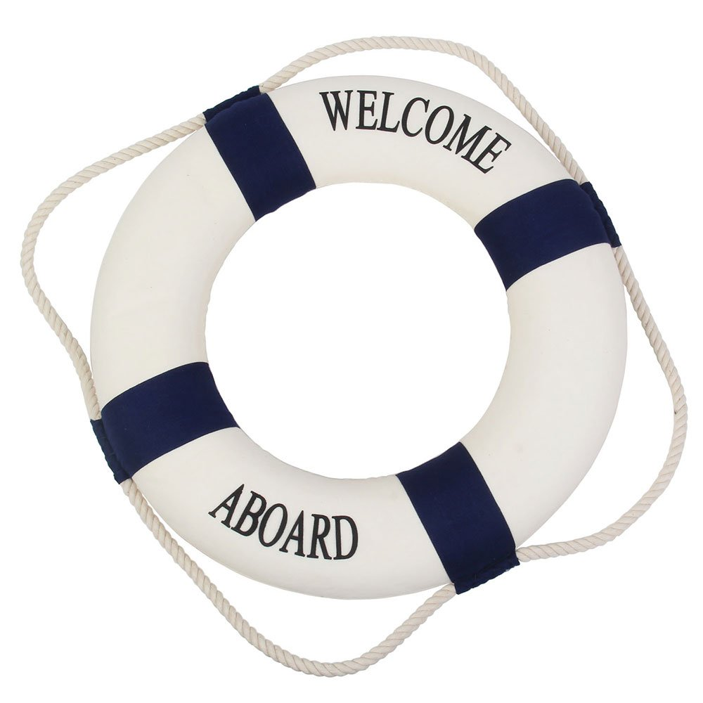 Welcome aboard boat ships life ring clock - Wrap Text Around Image
