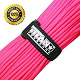 Authentic Titan Mil-Spec 550 Paracord / Survival Cord - 100 FEET, with FREE Velcro Fastener ★ Highest Quality Paracords Available ★ Two Paracord eBooks Included w/Purchase, NEON PINK