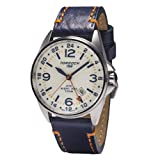 Torgoen T25 Cream GMT Pilot Watch | Night Pro 44mm - Blue Leather Strap (Color: Cream)