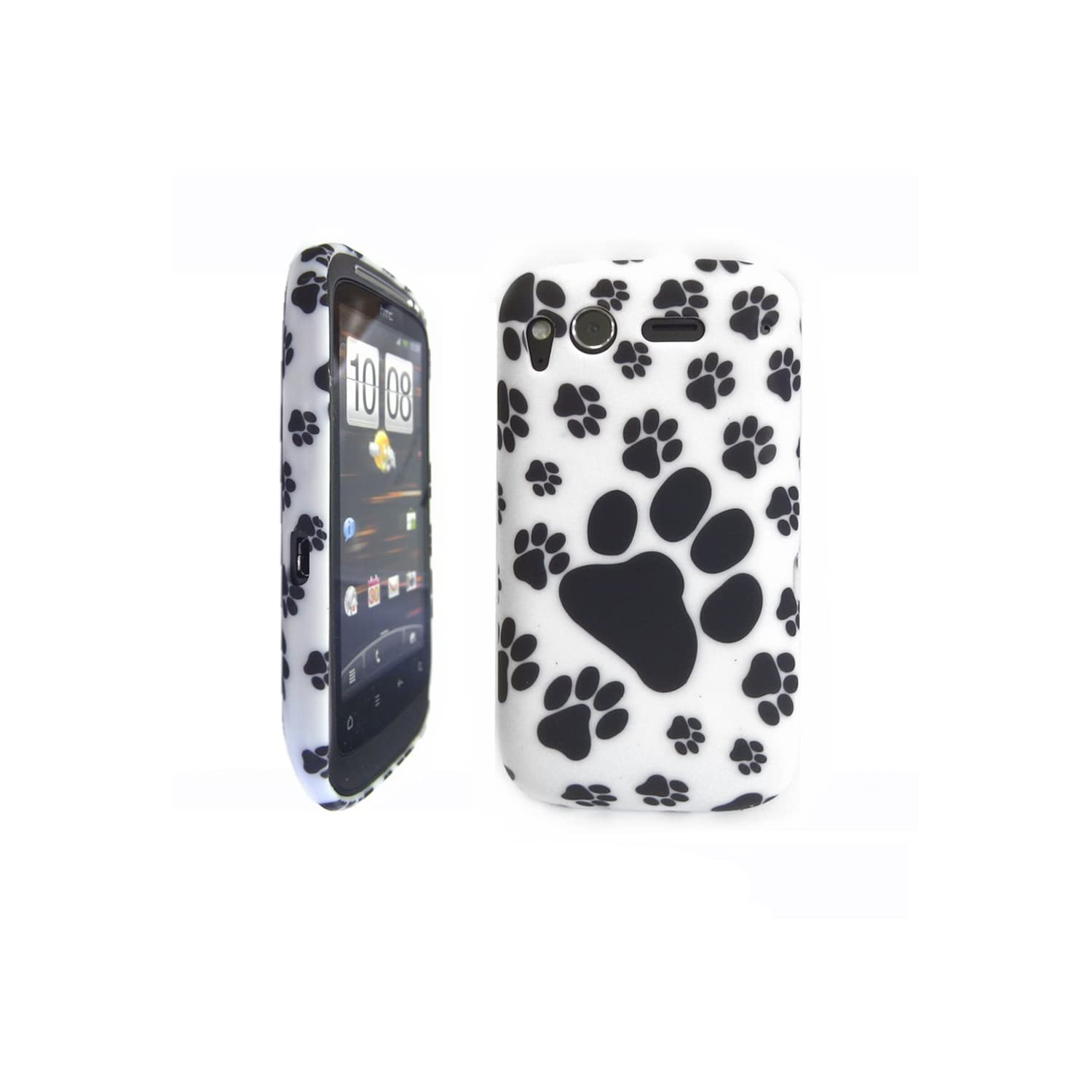 HTC Desire S / G12 / Black & White Paw Print gel case + SCREEN PROTECTOR