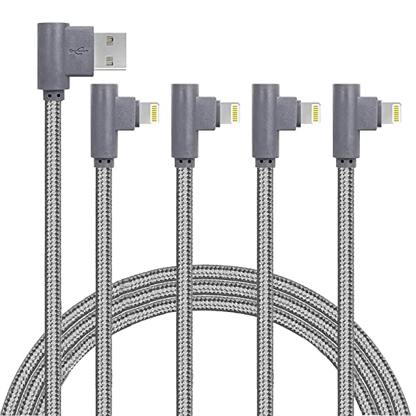 4 Pack (6/6/10/10FT) 90 Degree Extra Long Charge Cable Right Angle Phone Charger Cable/Data Sync USB Charging Cable Fast Charging Cord Compatible with Phone Xs XR X 8 7 6 Plus (Grey) (Color: Grey, Tamaño: 4Pack of 6/6/10/10FT)