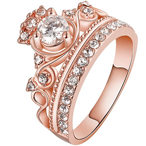 BOHG Jewelry Womens 18K Rose Gold Plated Fashion Cubic Zirconia CZ Princess Crown Tiara Ring Wedding Band Size 8
