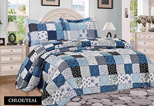 3tlg-Patchwork-Tagesdecke-Blau-Bettberwurf-berwurf-fr-Doppelbett-Blau-230x250-Quilt-Plaid-Trkis