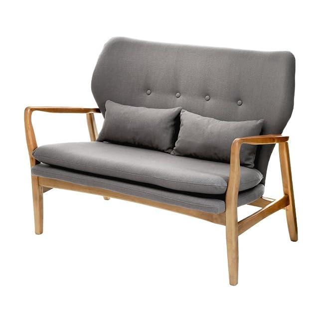 Fusion Living Grigio imbottito metà secolo scandinavo divano 2-posti