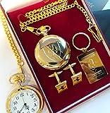 24k Gold Clad FERRARI Half Hunter Pocket Watch Keyring Cufflinks Luxury Gift Set in Presentation Box with Certificate California F40 F430 Enzo Berlinetta