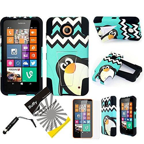3 items Combo: ITUFFY(TM) LCD Screen Protector Film + Stylus Pen + 2 tone Design Dual Layer KickStand Tuff Impact Armor Hybrid Soft Rubber Silicone Cover Hard Snap On Plastic Case for AT&T, Boost Mobile, Cricket, Sprint, T-Mobile Nokia Lumia 635 (4.5