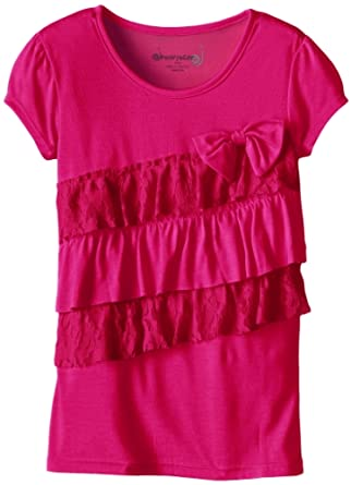 Dream Star Big Girls' Lace and Ruffle Top with Bow, Bright Fuchsia, Medium