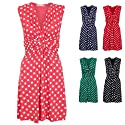 Womens Polka Dot Print Twist Knot Front V Neck Mini Swing Dress Party Summer