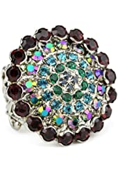 "Sorrelli ""Emerald City"" Bold Crystal Starburst Adjustable Silvertone Ring"
