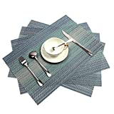PAUWER Placemats Set of 6 Crossweave Woven Vinyl Placemat for Kitchen Table Heat Resistant Non-slip Kitchen Table Mats Easy to Clean (Blue)