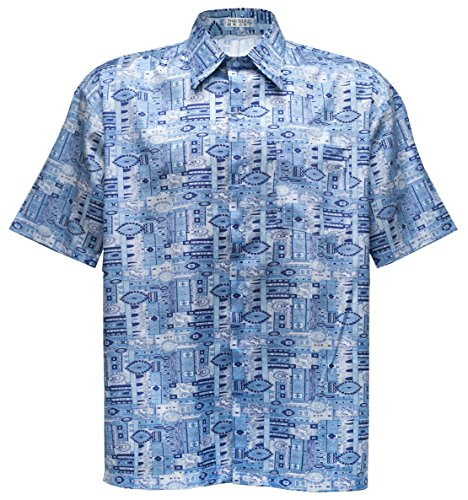 Men's Shirt Short Sleeve Thai Silk Patterned Paisley Sky Blue (L)