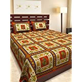 UniqChoice 100% Cotton Red & Orange Rajasthani King Size Double Bed Sheet With 2 Pillow Cover