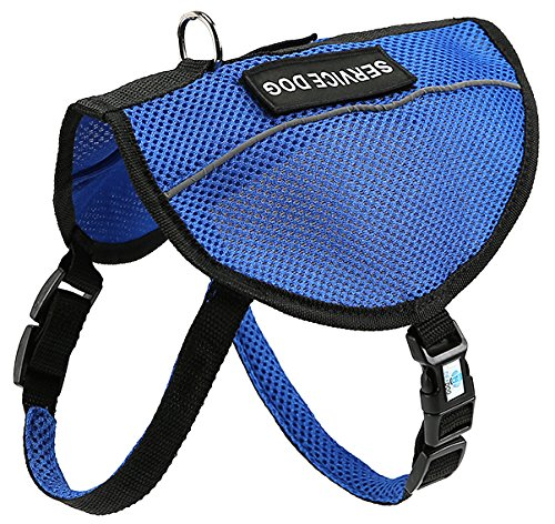 Service Dog Harness by DEXDOG | Comfy & Breathable Mesh Service Dog in Training Vest with Adjustable Buckle Straps | Therapy Dog Harness (Medium, Blue) (Black Service Dog Vest compare prices)