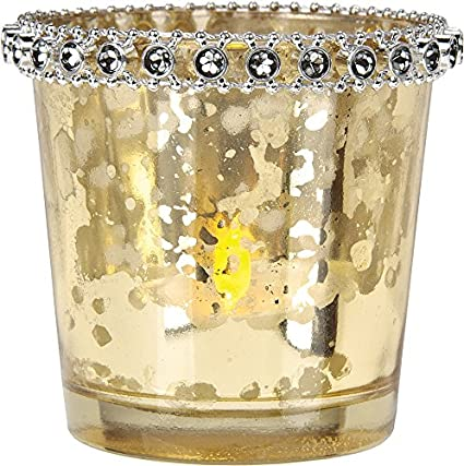 Gold Mercury Glass Tapered Rhinestones Tea Light Holder by Luna Bazaar