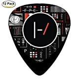 21 Blurryface Guitar Picks Graphic Fashion Celluloid Plectrums 12-Pack (Color: Black, Tamaño: ONE SIZE)
