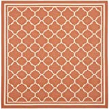 """Safavieh Courtyard Collection CY6918-241 Terracotta and Bone Square Area Rug, 6 feet 7 inches by 6 feet 7 inches Square (6'7"""" x 6'7"""" Square)"""
