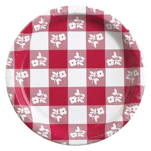 Creative Converting 8 Count Round Paper Dessert Plates, Red Gingham