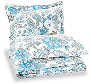 Pinzon Printed Cotton Duvet Set - Full/Queen, Floral Blue