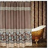 Eforcurtain Coffee Pattern Shower Curtain,Waterproof Mildew-Free Bathroom Curtain,Brown/Chocolate
