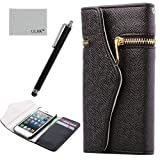 Pandamimi ULAK(TM) Elegant Travel Wallet PU Leather Case Cover for iPhone 5 5G with Screen Protector and Stylus (Black)