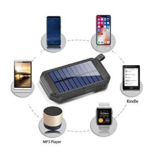 Solar Charger, Dostyle 8000mAh Portable Solar Power Bank External Backup Battery Pack 3 USB Ports Solar Phone charger with 21 LED light Compatible for