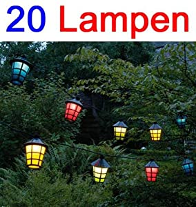 party lichterkette mit 20 lampen deko licht girlande leuchte garten beleuchtung lhs amazon. Black Bedroom Furniture Sets. Home Design Ideas