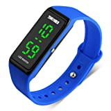 BINZI Electric Unisex Simple Design Digital Luminous Casual Watch with LED Backlight (Blue) (Color: Blue)
