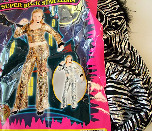Super Rock Star Zebra Teen Costume Silver OSFM NIP