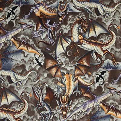 Alexander Henry Tale of the Dragon Sepia, 44-inch Wide Cotton Fabric