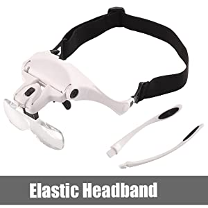 Headband Magnifier with Light, Dicfeos Hands Free Magnifying Glass for Close Work, Best Head LED Lights Magnifier for Eyelash, Watch Repair, Jewelry, Crafts, 5 Replaceable Lenses 1.0X 1.5X 2.0